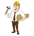 construction worker holding hammer and wooden vector image