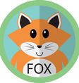 Cute fox cartoon flat icon avatar round circle vector image