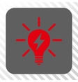 Electric Light Bulb Rounded Square Button vector image