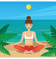 Girl sitting in yoga pose padmasana on the beach vector image