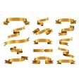 Gold glossy ribbon banners set vector image