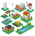 Isometric rural buildings and cottages 3d tractor vector image