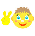 smiley boy with victoria gesture v vector image