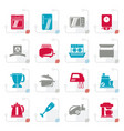 stylized kitchen appliances and equipment icons vector image