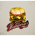 Vintage style hamburger sign background vector image