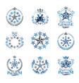 Stars emblems set heraldic coat of arms vector image