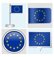 European Union flag - sticker button label vector image vector image