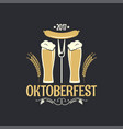 Oktoberfest beer glass logo background vector image