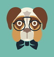 Hipster dog resize vector image