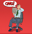 pop art shocked man reading newspaper vector image