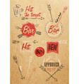 Set emblem of Bar Boom Arrow kraft paper vector image