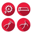 Tools icons set Saw pliers tongs cogwheel vector image