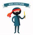 Ninja kid costume isolated vector image