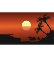 Scenery beach at sunset with sun vector image