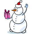 christmas snowman cartoon vector image