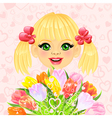 beautiful little girl with a big bouquet vector image vector image