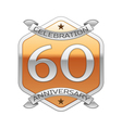 Sixty years anniversary celebration silver logo vector image