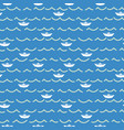 paper boats and sea waves seamless pattern vector image