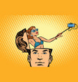 man with an open head selfie girl smartphone vector image