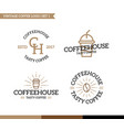 set of vintage coffee shop logo badge and element vector image