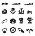 car racing icon set vector image