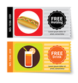 set of hotdog and juice coupon discount template vector image