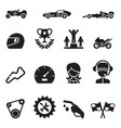 car racing icon set vector image