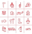 Fire Department contour icons vector image