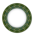 Frame with gold pattern on a green background vector image