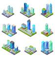isometric 3d set summer city quarters vector image