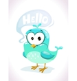 Little cute cartoon blue bird character vector image