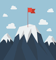Red flag on a Mountain peak vector image