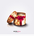 Round open gift box with ribbon polka dots paper vector image