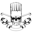 skull in toque and crossed ladles vector image vector image