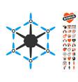 hexacopter icon with love bonus vector image