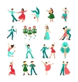 Various style dancing man icons vector image