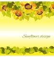Sunflower yellow border horisontal gesign vector image