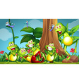 Five frogs and dragonflies in the garden vector image vector image