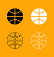 basketball ball set black and white icon vector image