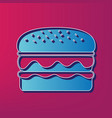 burger simple sign blue 3d printed icon vector image
