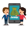 cartoon smartphone money earnings design isolated vector image