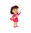 cute little girl character holding toothpaste vector image