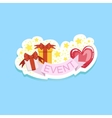 Event Template Label Cute Sticker With Heart And vector image