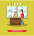 jewelry shop concept in flat vector image