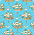 Sketch anchor and ship in vintage style vector image