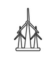 sketch silhouette image wind turbine eolic energy vector image