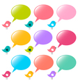 speech bubbles and birds set vector image