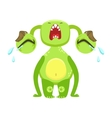 Funny Monster Crying Out Loud Green Alien Emoji vector image