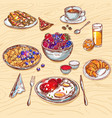 food breakfast view icon set vector image