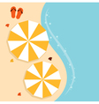 Beach summer background with umbrella vector image